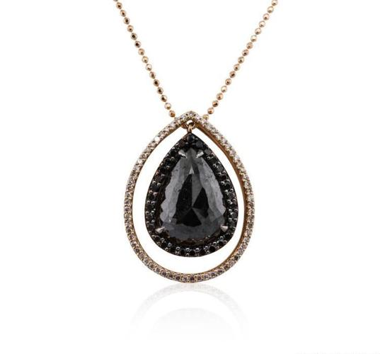14KT Rose Gold 4.66ctw Black Diamond Pendant With Chain