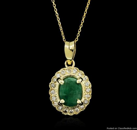 14KT Yellow Gold 1.07ct Emerald and Diamond Pendant With Chain