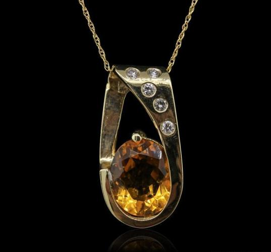 14KT Yellow Gold 4.10ct Citrine and Diamond Pendant