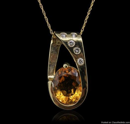 14KT Yellow Gold 4.10ct Citrine and Diamond Pendant
