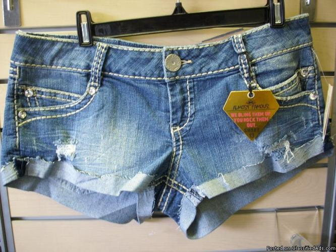 Almost Famous short shorts with rhinestone pockets..Brand new - Price: $10