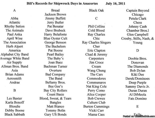 Anacortes, WA. LP Sale at Shipwreck Days this July 16th from 8am to 4pm only - Price: $1-$3
