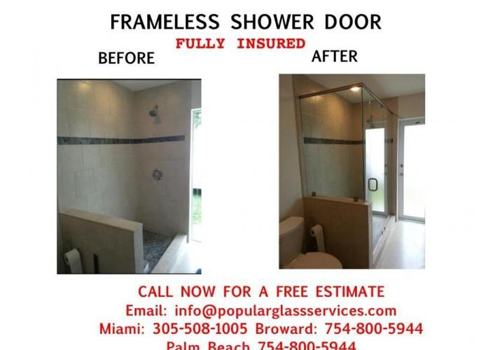 'ASAP-Miami Frameless Shower Door, Shower Door Installed, Custom Walls Mirror, Table tops 1/4