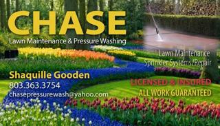 Chase pressure washing and lawn maintenice