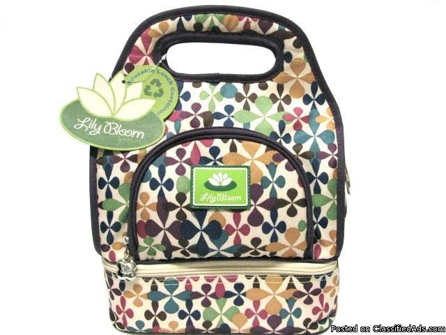 Eco Friendly Lunch Bag Recycled Plastic Lily Bloom Retro Mod - Price: 39.99