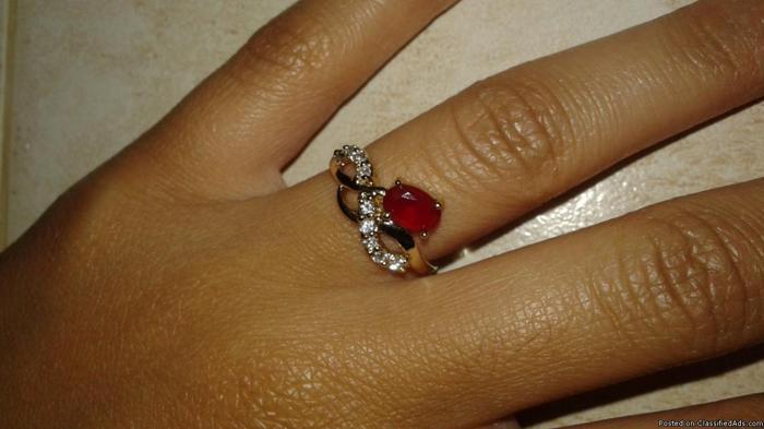 Garnet Gold Plated Ring
