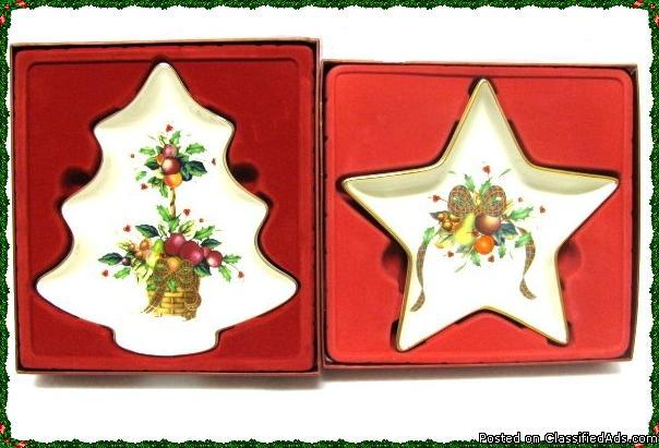 Lenox Christmas Collectibles Candy Dishes Holiday Tartan Star Set 2 - Price: 35.00