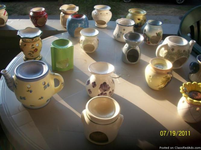 many designs and varieties of wax tart burners ,also many scented candles - Price: $1.00 each
