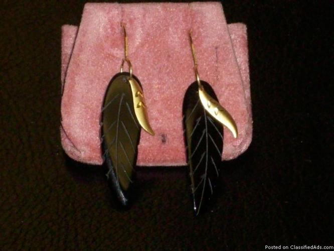 Natural Onyx Feather Earrings - Price: $75