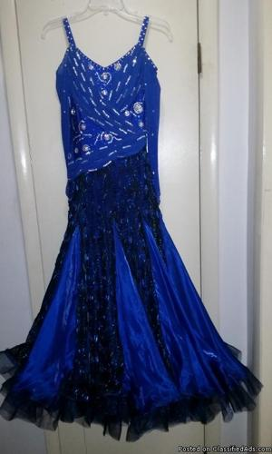 Royal blue smooth ballroom gown with swarovski rhinestones