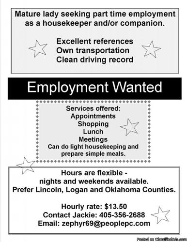 Seeking Employment - Compensation: 11.50