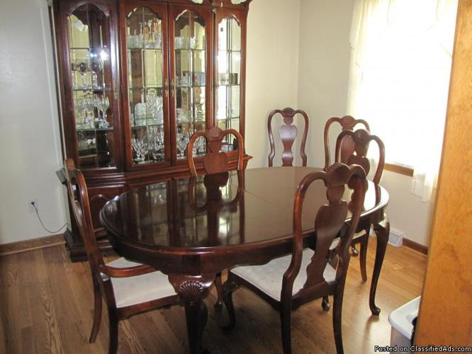 Solid Cherry Dining Set with Chest of Drawers & Hutch - Price: $3,000.00