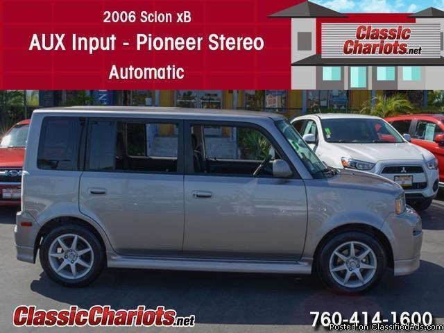 Used Car Near Me – 2006 Scion xB with AUX Input, Pioneer Stereo and Automatic for Sale in San Diego – Stock # 13573