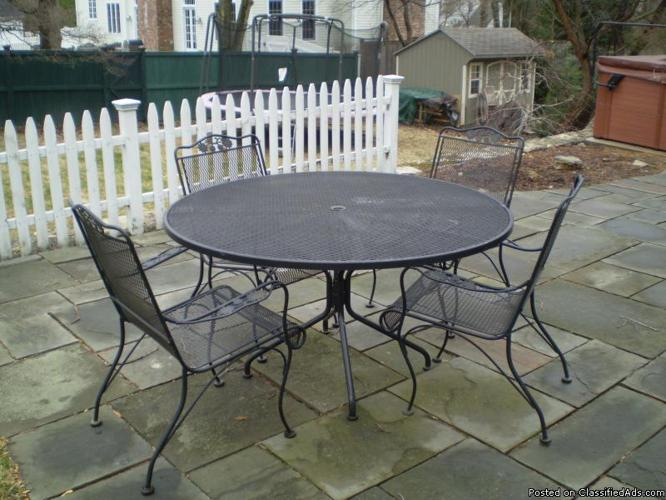 vintage wrought iron patio table and chairs price 500
